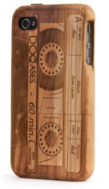 carcasa Iphone de madera, original, eco 100% y con un icono como el cassette!!!